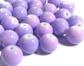 20 Purple Beads - 10mm Beads - Lilac Glass Beads
