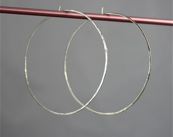 "Large 2"" Sterling Silver Hammered Texture Faceted Hoop Earrings"