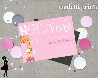Retro Baby Shower Invitation - HERE COMES TROUBLE Printable