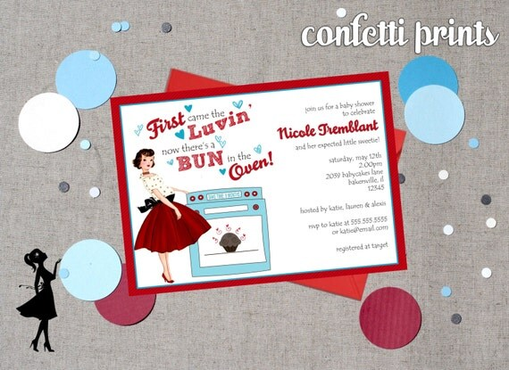 Retro Baby Shower Invitation - BUN In The OVEN Printable