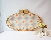 """ON SALE Oval Hoop Crochet Doily Wall Hanging in Cream & Peach 15 1/2"""" x 9 1/2"""" - Recycled Vintage"""