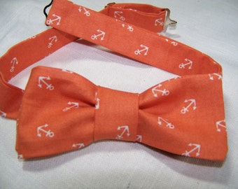 Orange Anchors Away - Nautical - Cotton Men's Bow Tie -  Adjustable - MULTIPLES AVAILABLE - Great for Weddings