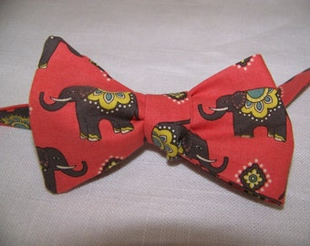 Road Well Traveled Elephant Coral Cotton Men's Bow Tie -  Adjustable - self tie