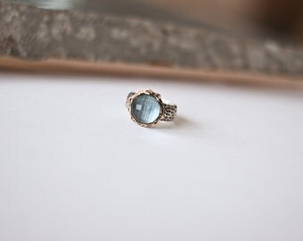 Topaz, gold and silver vintage ring