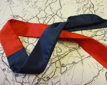 Vintage Scarf / Necktie Red and Blue
