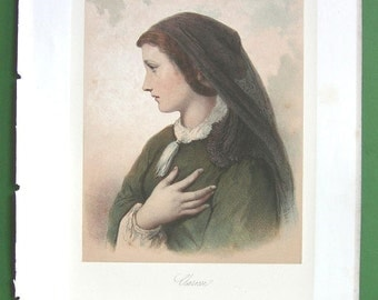 YOUNG MAIDEN Lovely Clarisse - 1864 Victorian Color Vintage Antique Print