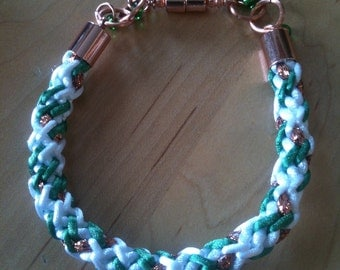 Kumihimo Bracelet in White, Green and Copper