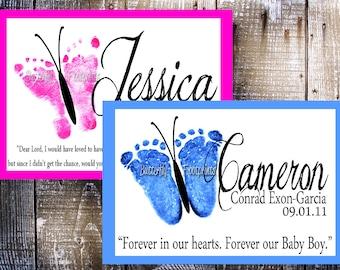 Butterfly Footprint Baby Memorial Keepsake (2012 design)