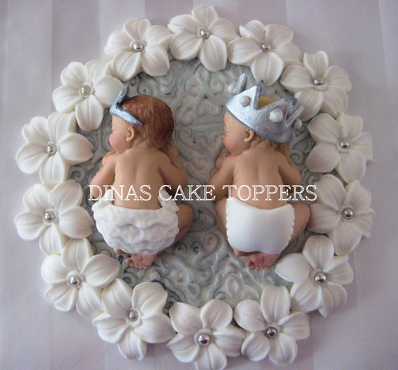 Twin Baby Shower Cake Toppers: Twins Prince And Princess Baby Shower First By