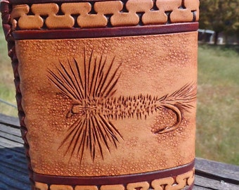 Hand tooled leather covered, 8 oz  flask