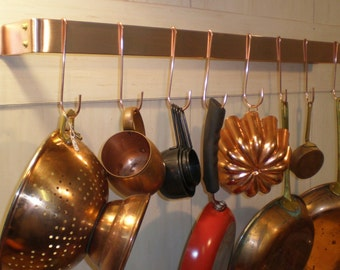 30 W x 5 D x 1-1/2 H Wall Mounted Brushed Finish SOLID COPPER Pot Rack & 10 Pot Hooks - FREE Shipping