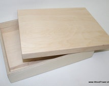 Wooden A4 Size Box for DIY Projects/ Unfinished Wooden Box /12 x 8.65 x 1.95 inch (other dimensions available)