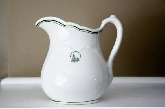 """Vintage Restaurant Ware Pitcher Sterling Vitrified China East Liverpool Ohio 7"""""""