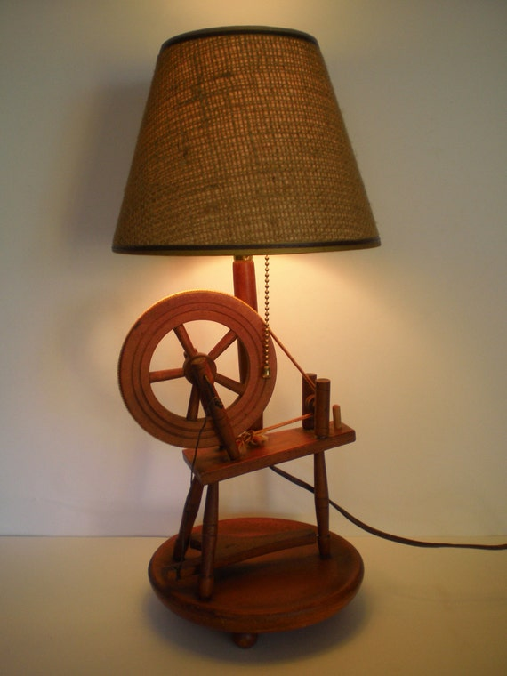 Wood Spinning Wheel Lamp Retro Light Lighting Burlap Shade