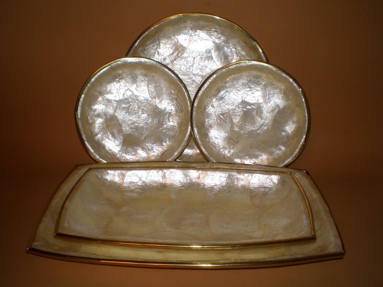 Capiz Shell Trays Plates Gold Rim 5 Piece Opalescent Serving