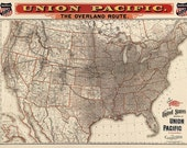 Antique Map of the United States - Union Pacific Railroad Map (1892) - Archival Reproduction