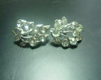 1940s Coro White Rhinestone Screw Back Costume Earrings FREE SHIPPING