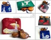 Felt pouch with Flamenco motif, Purse, Makeup bag, Pencil case, Needle felted, Custom made