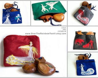 Flamenco gift, Castanets pouch, Flamenco dancer, Choose your colour, Custom make up bag, flamenco dance gift, flamenco lover gift