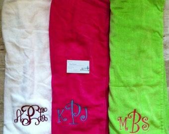 Monogrammed/ Personalizied Ladies Monogrammed Towel Wraps in 4 colors: Aqua, Hot Pink, White and Lime Green