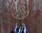 Onyx in the Snow Hand Woven Gold-filled Wire Dream Catcher by The Emerald Lotus
