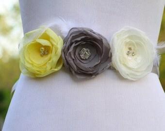 Bridal Sash-Chiffon Flower Sash-Light Ivory-Grey-Yellow-Feathers-Crystals-Rhinestones-Swarovski Pearls-Grey Ribbon-Bridal Belt