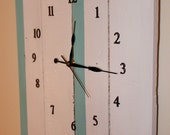Wood pallet clock rustic wall decor white aqua gold numbers timepiece