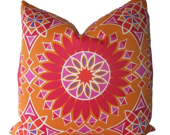 Decorative Designer Trina Turk for Schumacher,  Outdoor, Soleil Print, Orange, 18x18, 20x20, 22x22, Throw Pillow