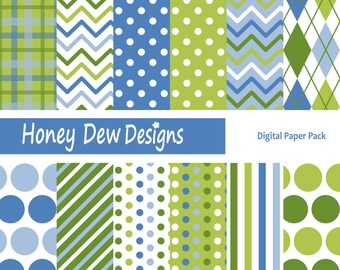 Instant Download - Digital Paper Pack 227 - Green and Blue Patterned Paper