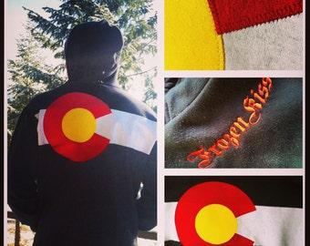 Colorado Flag Hoodie BLACK  zippered sweatshirt gift