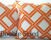 Orange geometric trellis pillow cover,Orange and White Double Sided toss pillow cover,toss pillow,throw pillow