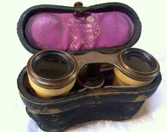 ANTIQUE ORNATE BINOCULARS Perfect for an Opera or Prop with an Antique Leather Case Lined in Purple Velvet New York