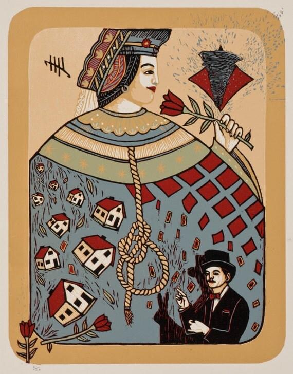 Tin Hat, color woodcut by Bridget Henry