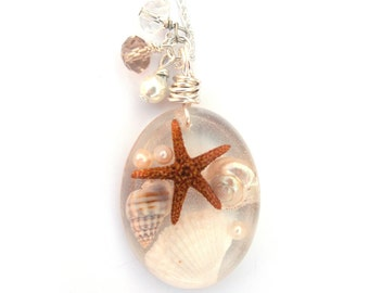 Beach Necklace - Real shells and starfish in Resin - Ocean Life Necklace - Beach Pendant - Wire Wrapped Pendant - Resin Jewelry