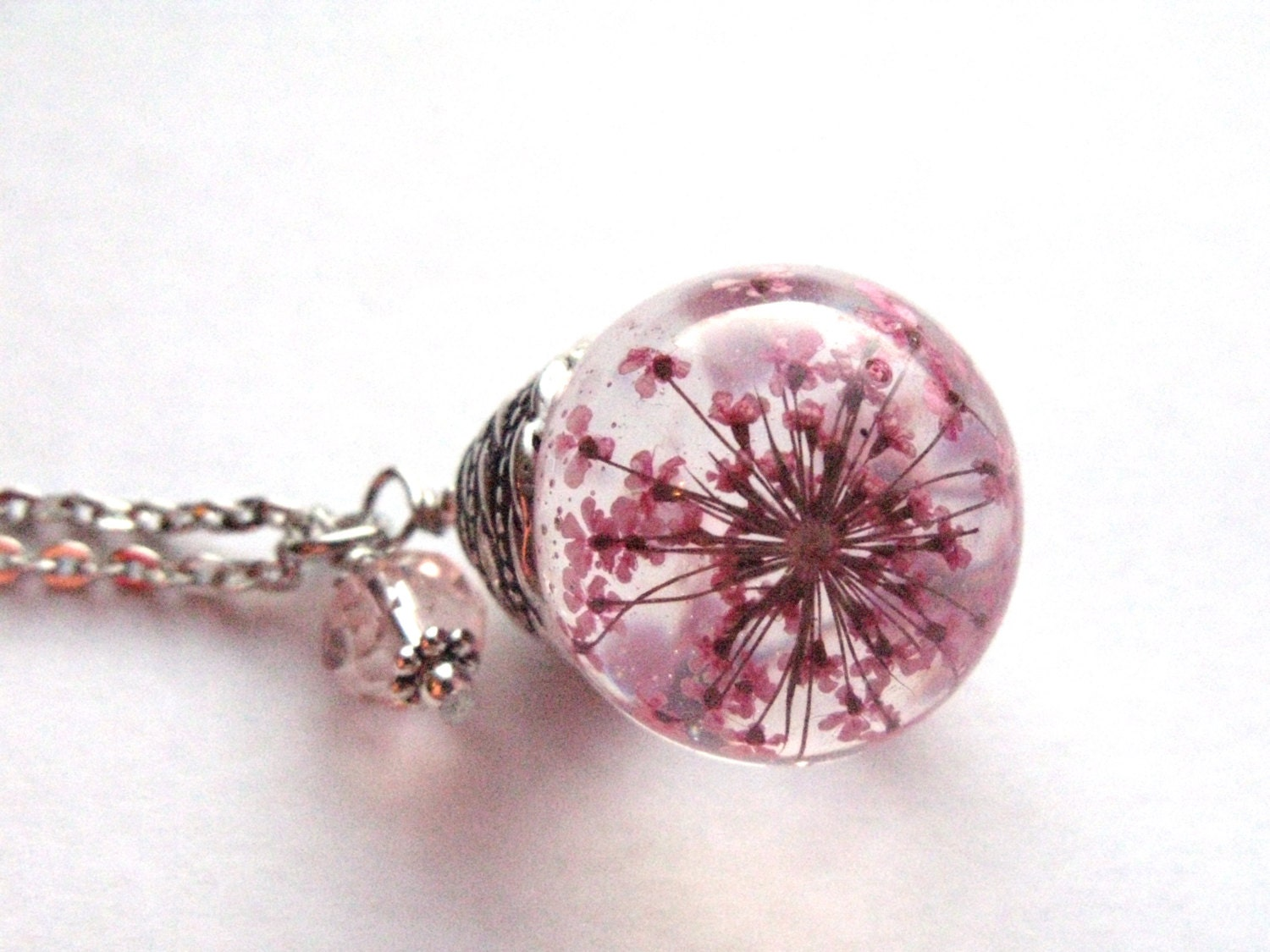 Pink Queen Anne S Lace Resin Pendant Necklace Sphere