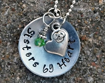 Sisters by Heart Stamped Metal Necklace