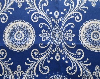 Blue Pillow Cover / Indoor / Outdoor Pillow Cover / Royal Blue Damask Print / Blue Pillow Cover