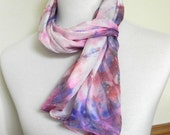 Tie Dyed Shibori Silk Scarf Hand Dyed Red, Pink, Blue and Purple, Long Silk Scarf #433,Ready to Ship