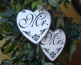 "Wedding ""Mr."" and ""Mrs"" Primitive Rustic Heart Signs"
