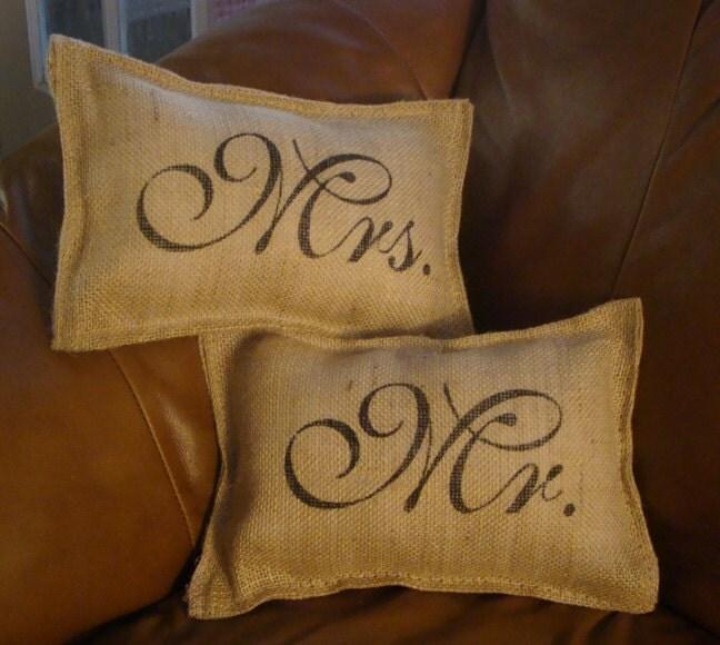 Set Of 2 Burlap Mr And Mrs Wedding Pillows