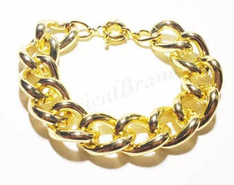 Smooth Chunky Gold Chain Bracelet