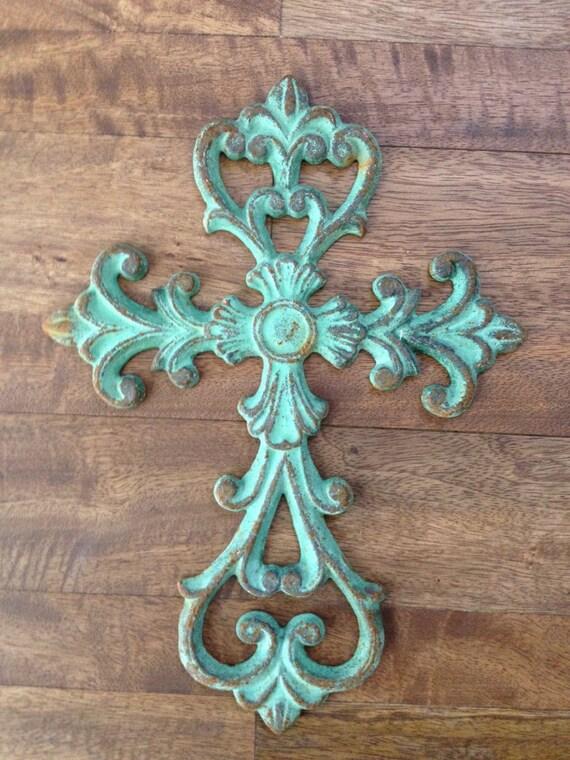 shabby chic seafoam cast iron decorative cross - Decorative Cross