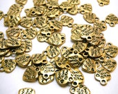 Made With Love (On Both Sides) Tibetan Heart Pendants/Charms (package of 50) In Gold Color CH012