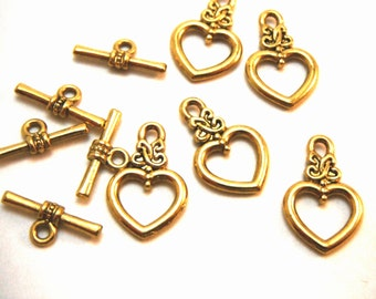 10 Sets of Antique Gold Toggles Bar Clasps 20mm x 13mm Necklace Closure Bracelet Closure Connecter Bar And Ring CLASP003