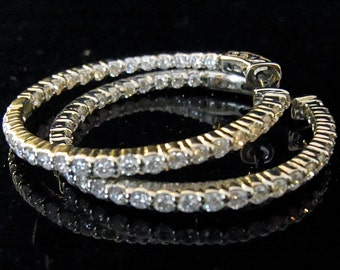 IN & OUT Diamonds 2ct 14K White, Yellow or Pink Gold Hoop Earrings 1.1""