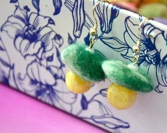 A Set of Needle Felted and Beaded Earrings - Green Tops