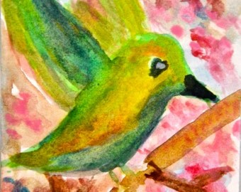 Original ACEO Watercolor Painting: Spring Time with a Hummingbird
