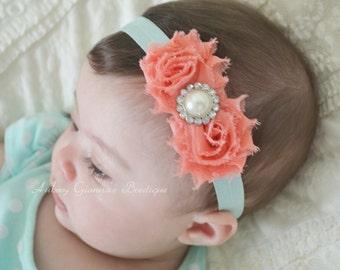 Baby Headband, Cute peach and Aqua Headband, Toddler Headband, Newborn headband, baby hair bow, Newborn photo prop, hair accessories.