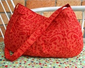 Small Pleated Shoulder Bag in red and orange