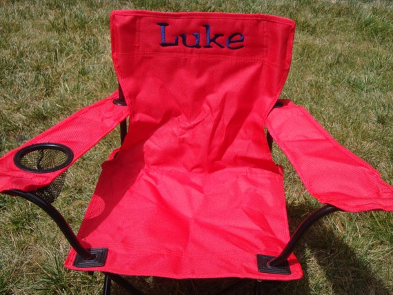 Red monogrammed chair for kids for Monogrammed kids chair